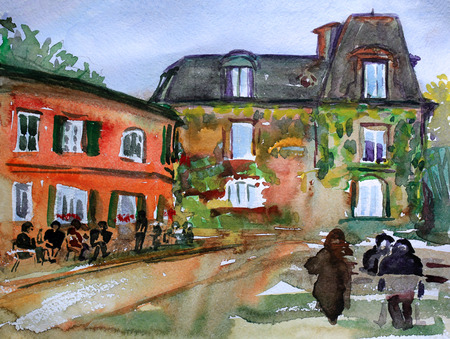 montmartre: Watercolor painting of the Montmartre in Paris city France.