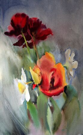 multi cultural: Watercolor painting of the beautiful flowers.