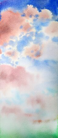 creativeness: Watercolor painted abstract sky for background, texture
