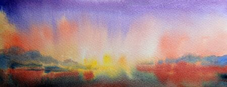 lake sunset: Watercolor painting landscape of sunset and mountain lake