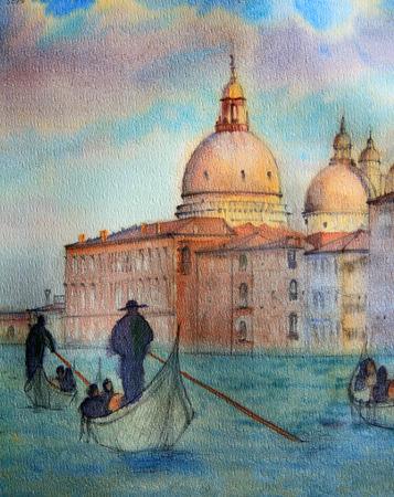 水彩で描かれたイタリア、ベニスの絵画、