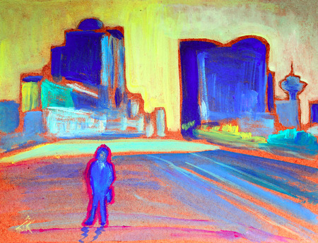 vancouver city: Painting of the Man in Vancouver City. Stock Photo