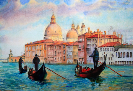 venice gondola: Painting of Venice Italy, painted by watercolor