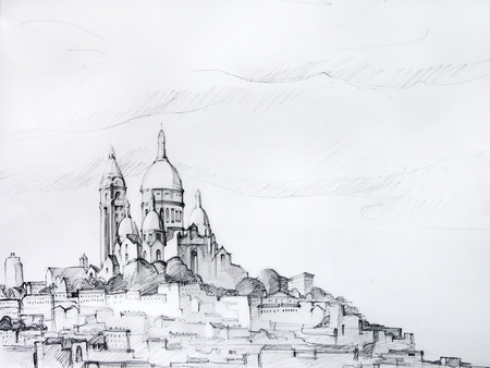 montmartre: Painting of Paris, France, painted by pencil Stock Photo