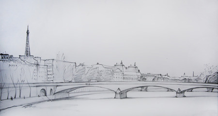 france painted: Painting of Paris, France, painted by pencil Stock Photo