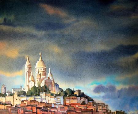 フランス パリ市モンマルトルの水彩画。