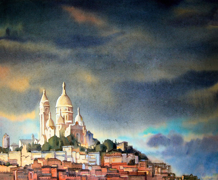 paris: Watercolor painting of the Montmartre, in Paris city, France.