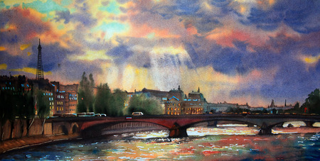 urban art: Watercolor painting of the Paris, France.