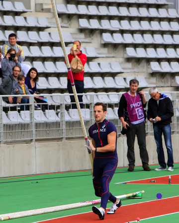 world record: Lavillenie Renaud on DecaNation International Outdoor Games on September 13, 2015 in Paris, France. He is Olympic champion and World record holder jump pole vault with 6m16