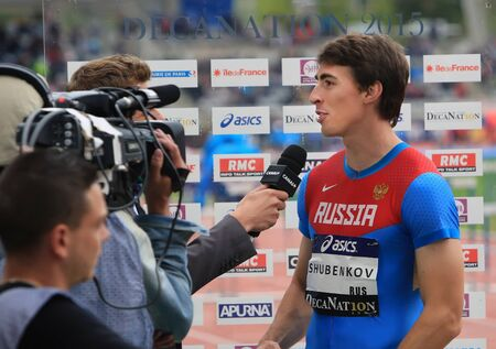 hurdles: Sergey Shubenkov winner of 110 m. hurdles on DecaNation International Outdoor Games on September 13, 2015 in Paris, France.Russian athlete,World champion 2015,European champion Editorial