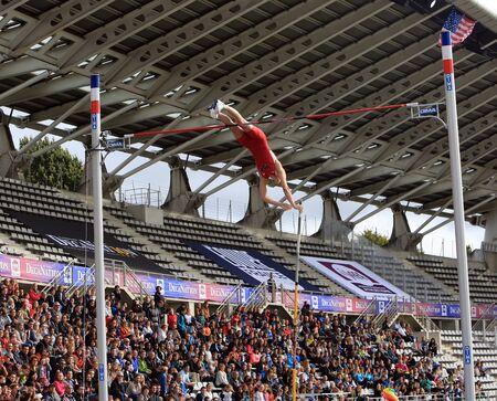 sam: Sam Kendricks win pole vault on DecaNation International Outdoor Games on September 13, 2015 in Paris, France. Sam Kendricks Is an athlete US, specialist in pole vaulting Editorial