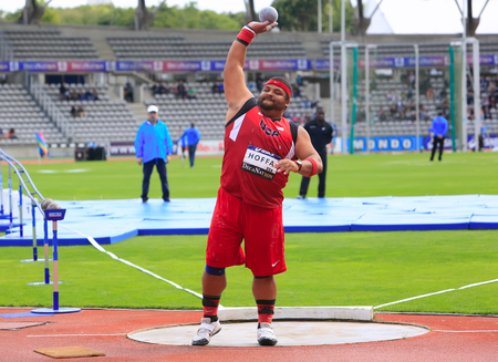 reese: Reese Hoffa on DecaNation International Outdoor Games on September 13, 2015 in Paris, France. American shot putter, World Champion, won bronze medal at 2012 Olympics in London