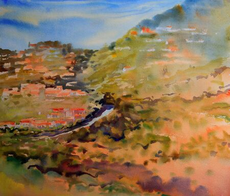 french countryside: Mountain landscape painted by watercolor.