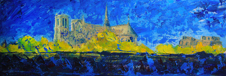 notre dame de paris: Notre Dame de Paris, France, painted by acrylic