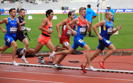mid distance: Athletes on the 800 meters race on DecaNation International Outdoor Games on September 13, 2015 in Paris, France.