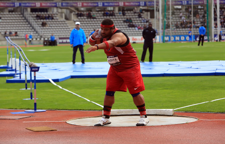 olympics: Reese Hoffa on DecaNation International Outdoor Games on September 13, 2015 in Paris, France. American shot putter, World Champion, won bronze medal at 2012 Olympics in London