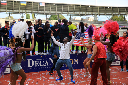 American Track and Field team celebrate first place on DecaNation International Outdoor Games on September 13, 2015 in Paris, France.