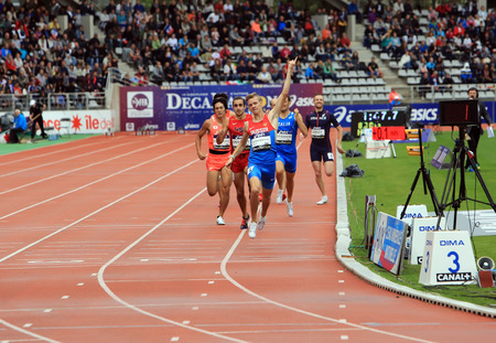 mid distance: Konstantin Tolokonnikov from Russia winning 800 m. race on DecaNation International Outdoor Games on September 13, 2015 in Paris, France. (born 26 Feb. 1996 in Rostov, Russia) Editorial