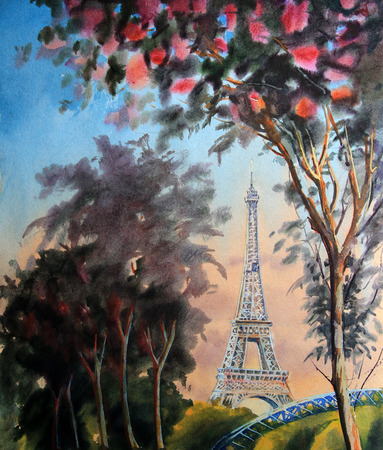Watercolor painting landscape with eiffel tower and blooming spring tree in Paris