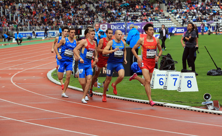Athletes on the 800 meters race on DecaNation International Outdoor Games on September 13, 2015 in Paris, France.