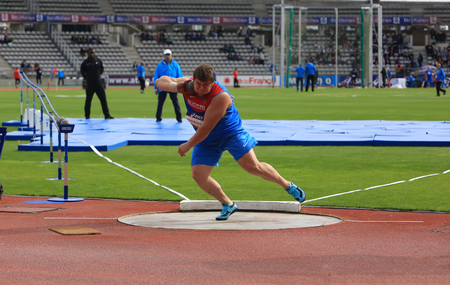 competes: Konstantin Lyadusov from Russia COMPETES in the mens Shot Put on DecaNation International Outdoor Games on September 13, 2015 in Paris, France. Editorial