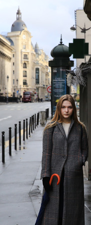 green eyes: Beautiful girl in the Paris city