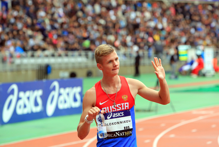 konstantin: Konstantin Tolokonnikov the winner of 800 m. race on DecaNation International Outdoor Games on September 13, 2015 in Paris, France.(born 26 Feb. 1996 in Rostov-on-Don, Russia) Editorial
