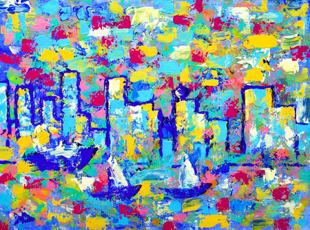 original: Abstract colorful painting of the city Stock Photo
