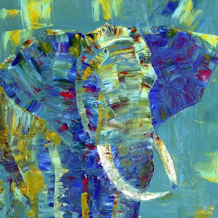Een olifant beschilderd met acrylverf op doek Stockfoto