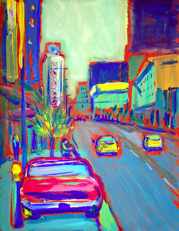 downtown: Painting of the american downtown street