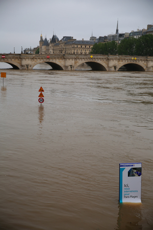rail roads: flood in Paris on june 02, 2016 in Paris, France. The rising waters of the Seine overflowed riverbanks, roads and rail tracks across Paris