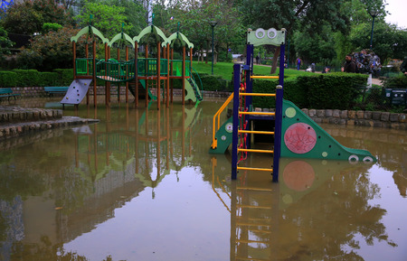 rail roads: Playground under the flood in Paris on june.02, 2016 in Paris, France. The rising waters of the Seine overflowed riverbanks, roads and rail