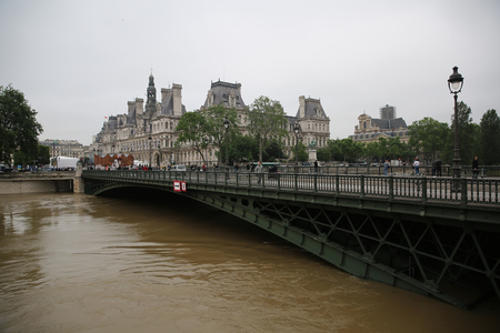 rail roads: Seine river flood in Paris on june 02, 2016 in Paris, France. The rising waters of the Seine overflowed riverbanks, roads and rail tracks across Paris