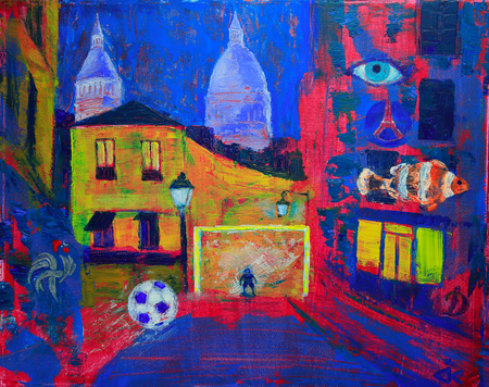 montmartre: Abstract painting of the Montmartre in Paris