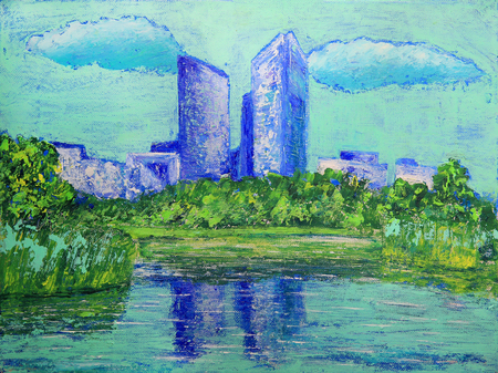 la: Painting of the departmental park Andre Malraux Nanterre, near by Paris
