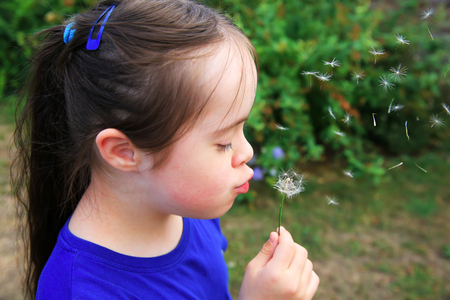 girl blowing: Little girl blowing dandelion Stock Photo