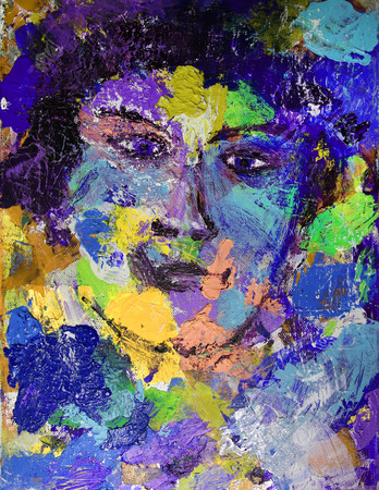 abstract portrait: Abstract woman portrait painted on canvas Stock Photo