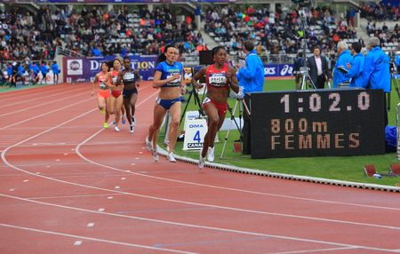 meters: Nataliya Lupu, Yevgeniya Subbotina and Chanelle Price on the 800 meters race on DecaNation International Outdoor Games on September 13, 2015 in Paris, France. Editorial