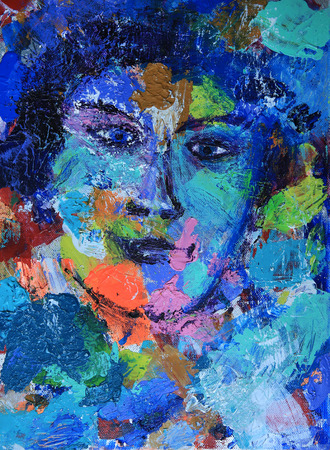 face female: Abstract woman portrait painted on canvas Stock Photo