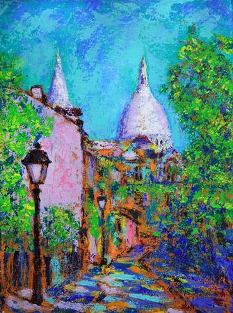 montmartre: Art painting of the Montmartre street in Paris, France