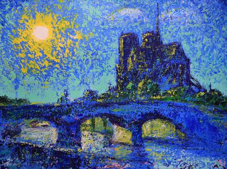 dame: Notre Dame de Paris, France, painted by acrylic