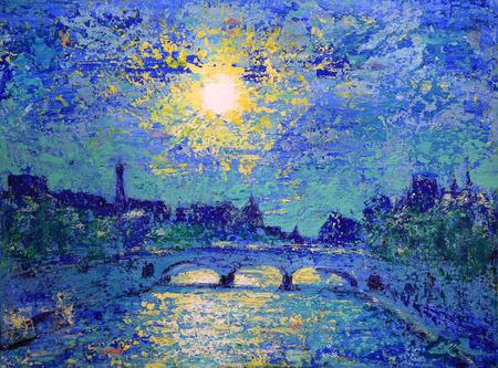 Coucher de soleil à Paris, France, peint par acrylique Banque d'images - 63259284