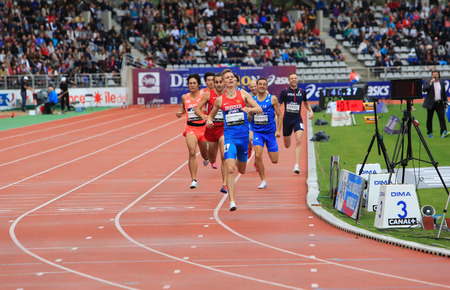 Konstantin Tolokonnikov from Russia winning 800 m. race on DecaNation International Outdoor Games on September 13, 2015 in Paris, France. (born 26 Feb. 1996 in Rostov, Russia) Editorial