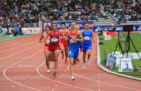 Konstantin Tolokonnikov from Russia winning 800 m. race on DecaNation International Outdoor Games on September 13, 2015 in Paris, France. (born 26 Feb. 1996 in Rostov, Russia) Editorial