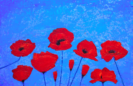 papaver: Art painting with wheat field poppies flowers against blue sky. Original painting Stock Photo