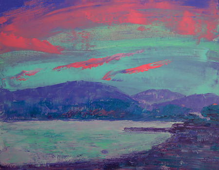 Art painting of sunset over St Tropez