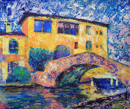 port: Art painting of Port Grimaud  in France Stock Photo