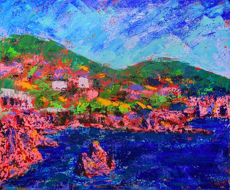 impressive: Esterel mediterranean red rocks coast painting Stock Photo