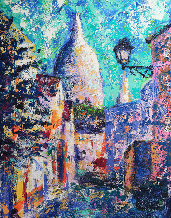 montmartre: Montmartre street in the Paris, France painted by acrylic