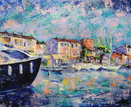 Art painting of Port Grimaud  in France Stock Photo